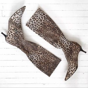 DONALD J PLINER leopard sheer tall stretch boots.